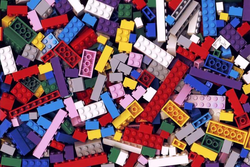 Legos in a spread.