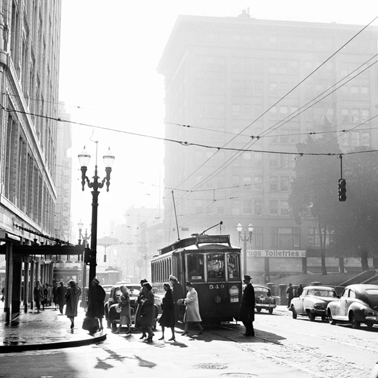 Old Photo of Portland with trolly car.