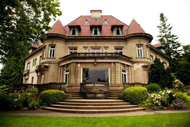 Exterior shot of the Pittock Mansion.