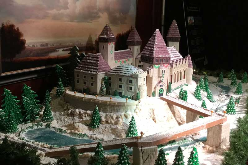 Side view of the Benson Gingerbread house highlighting the lake.